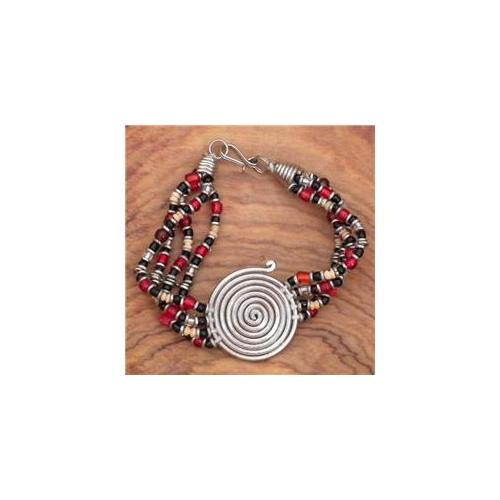 Gifts with Humanity ZCB002A-RED-214076 Silvertone Progress Spiral Beaded Bracelet- Kenya- Red
