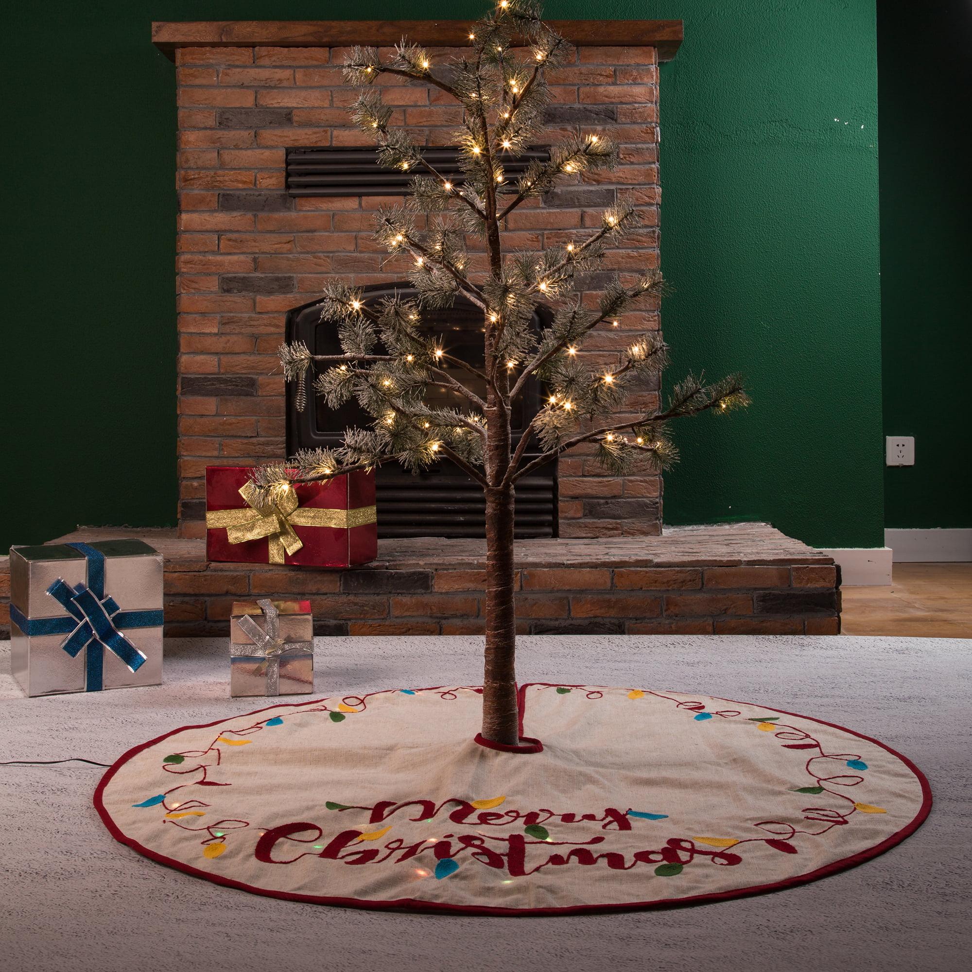 """Linen Christmas Tree Skirt: Glitzhome 48"""" Christmas LED Embroidered Linen Christmas"""