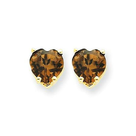 14k Yellow Gold 6mm Heart Smokey Quartz Earrings Gem Wt- 1.4ct