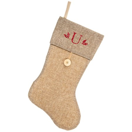 Monogrammed Christmas Stocking, Natural Burlap and Button with Serif Glitter Initial