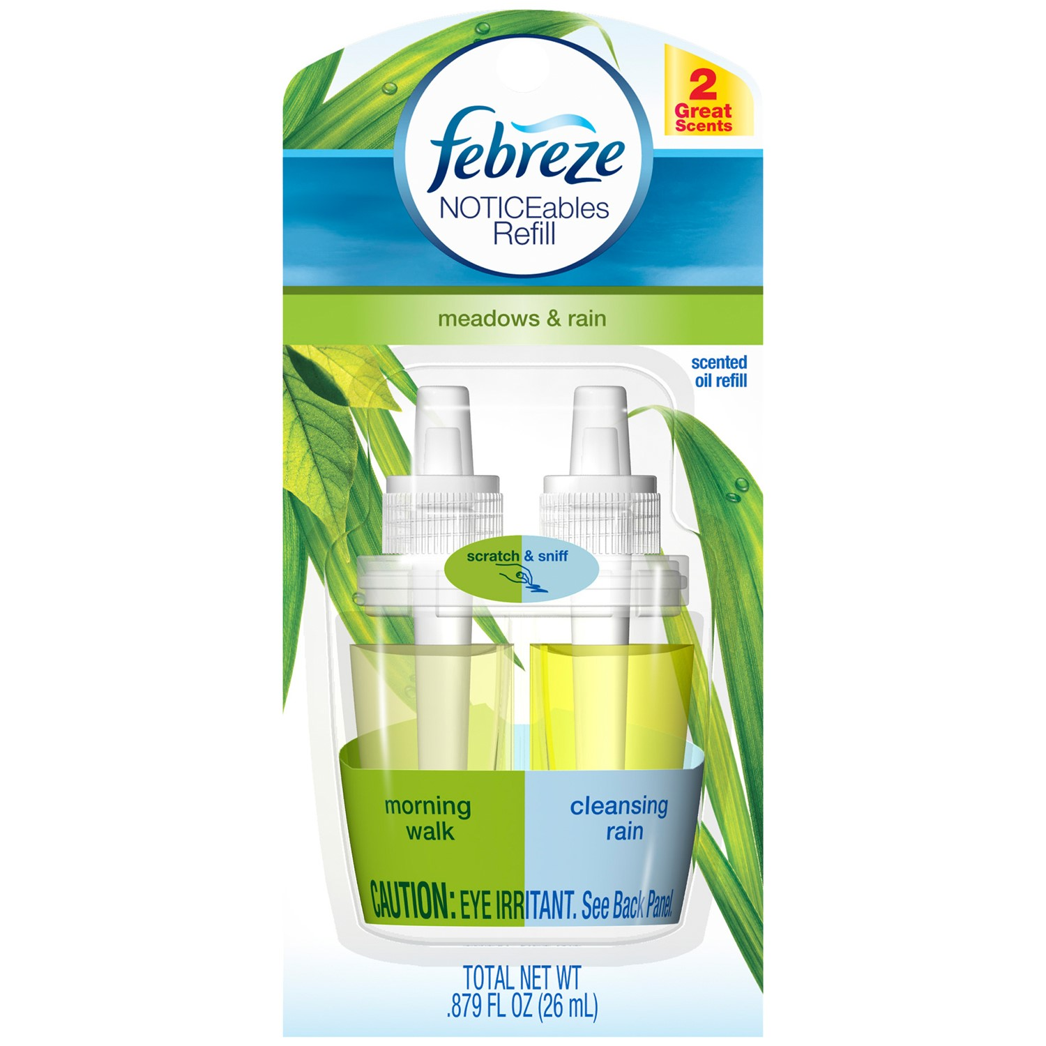 Febreze Noticeables Scented Oil Refill, Meadows & Rain, .87 Oz