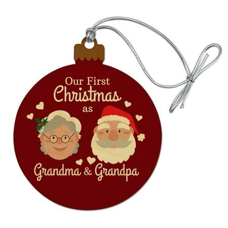 Our First Christmas as Grandma Grandpa Santa Mrs. Claus Wood Christmas Tree Holiday Ornament ()