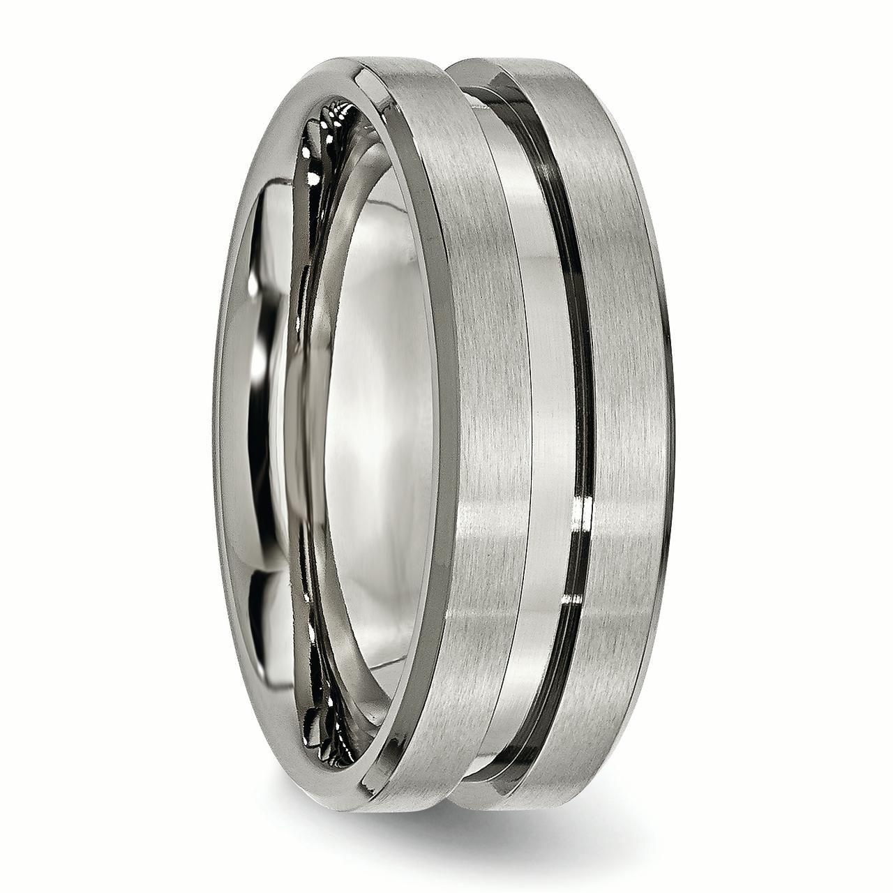 Titanium Grooved 8mm Brushed Wedding Ring Band Size 8.50 Fashion Jewelry Gifts For Women For Her - image 4 of 6