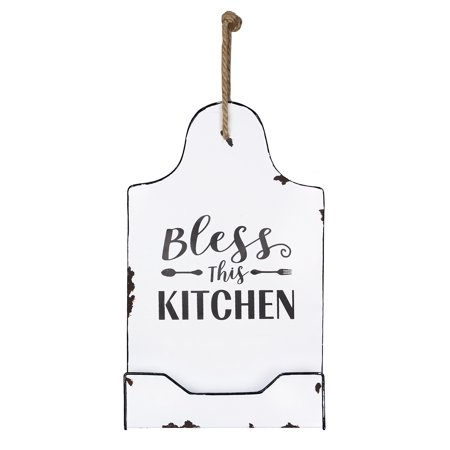 Recipe Holders (Bless This Kitchen Recipe Holder Black and White Enameled Tin)
