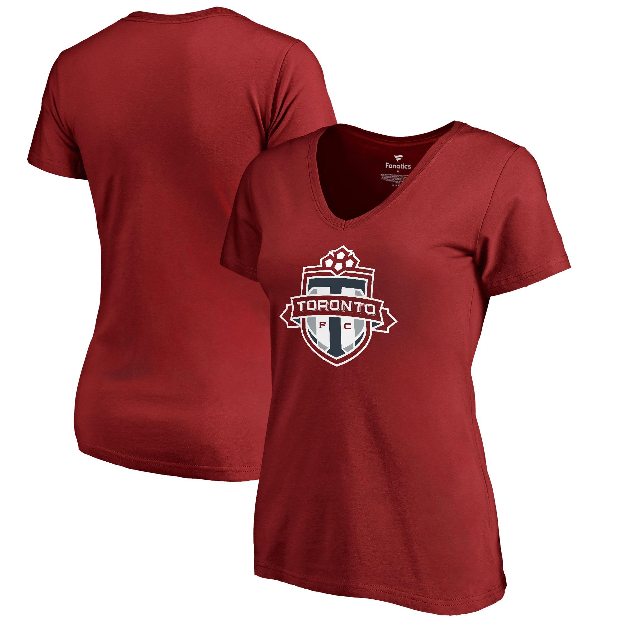 Toronto FC Fanatics Branded Women's Primary Logo V-Neck T-Shirt - Red