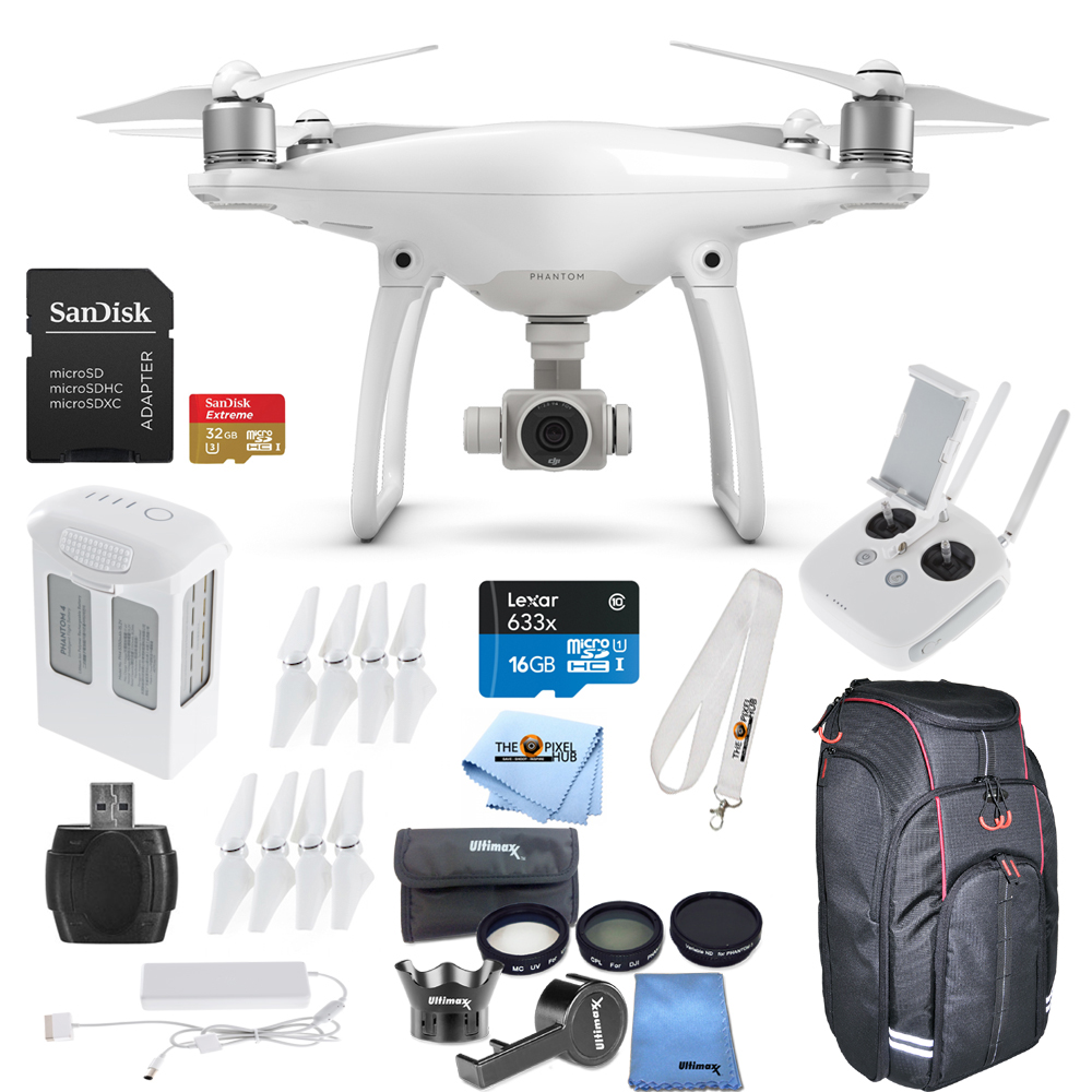 DJI Phantom 4 Quadcopter Includes 7 Piece Lens Filter Kit + Carrying Case + More by DJI