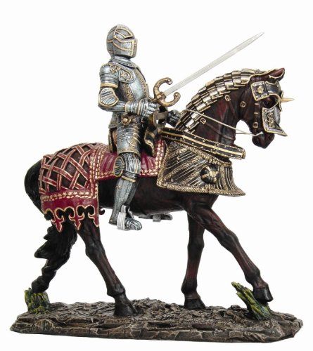 Large Suit of Armor Medieval Knight On Horse Charging Wit...