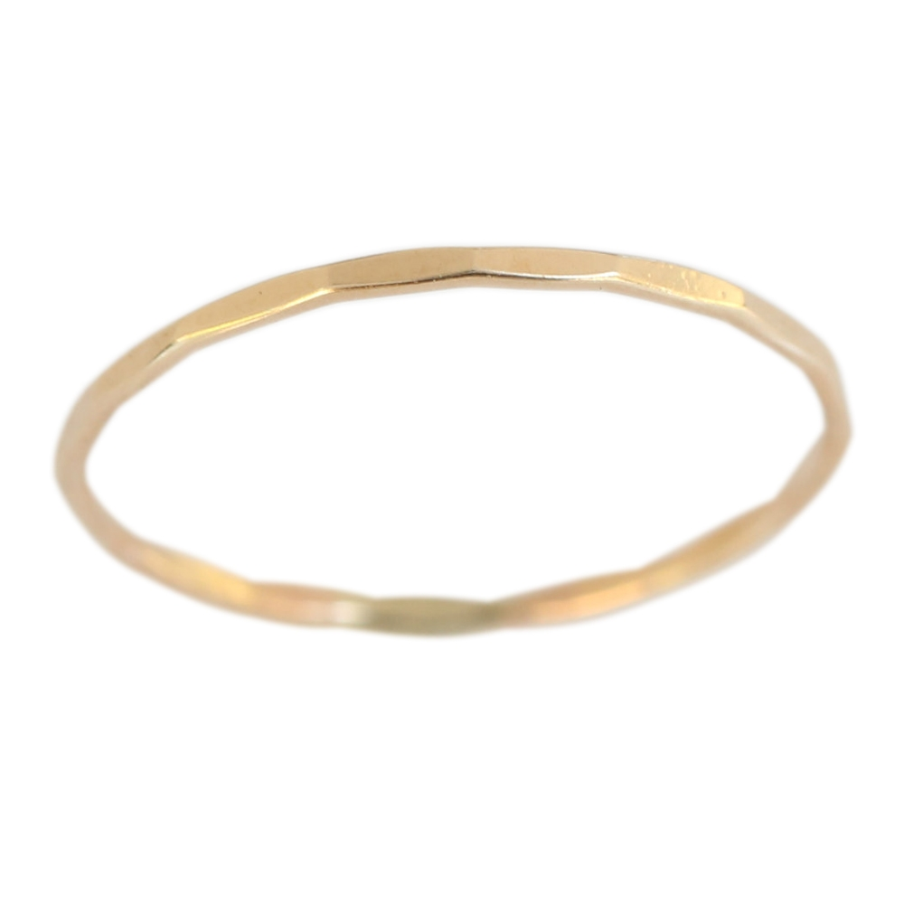 14k Gold Filled 1mm Thin Faceted Plain Band Midi Toe Ring