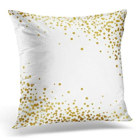 CMFUN White Celebration Gold Glitter Polka Dot Yellow Splash Throw Pillow Case Pillow Cover Sofa Home Decor 16x16 Inches ()