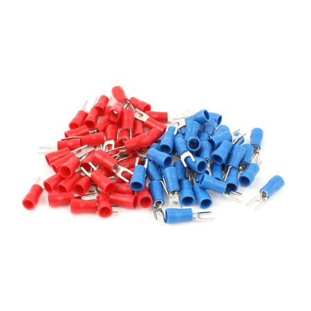 80pcs 16-14 AWG Red Blue Wire Connector Insulated Fork Spade Terminal (Wire Spade)