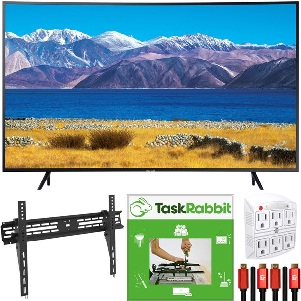 Samsung UN55TU8300 55-inch HDR 4K UHD Smart Curved TV (2020) Bundle with TaskRabbit Installation Services + Deco Gear Wall Mount + HDMI Cables + Surge Adapter