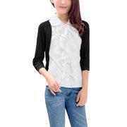 Women's Ruffled 3/4 Sleeve Casual Top Black (Size XL / 16)