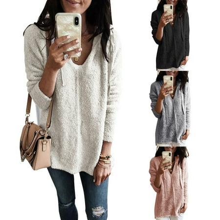 Women's Fleece V-Neck Long Sleeve Hoodie Loose Sweatshirt Pullover Jumper Tops (Black Dog Fleece Pullover)