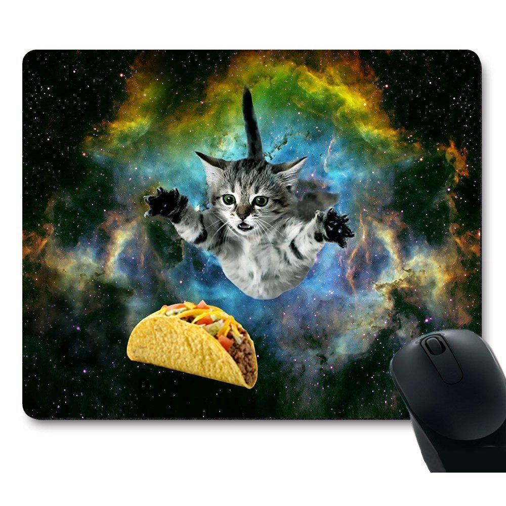 POPCreation Curious Cat Flying Through Space Reaching for a Taco in Galaxy Space Hilarious Mouse pads Gaming Mouse Pad 9.84x7.87 inches