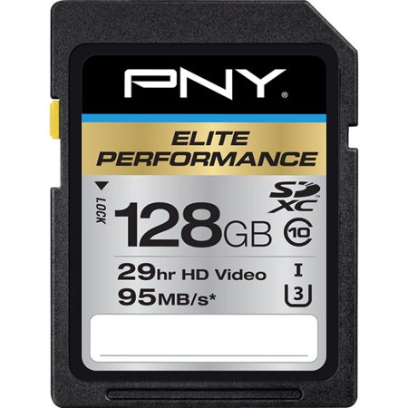 PNY P-SDX128U395-GE Elite Performance 128 GB High Speed SDXC Class 10 UHS-I, U3 Up to 95 MB/Sec Flash