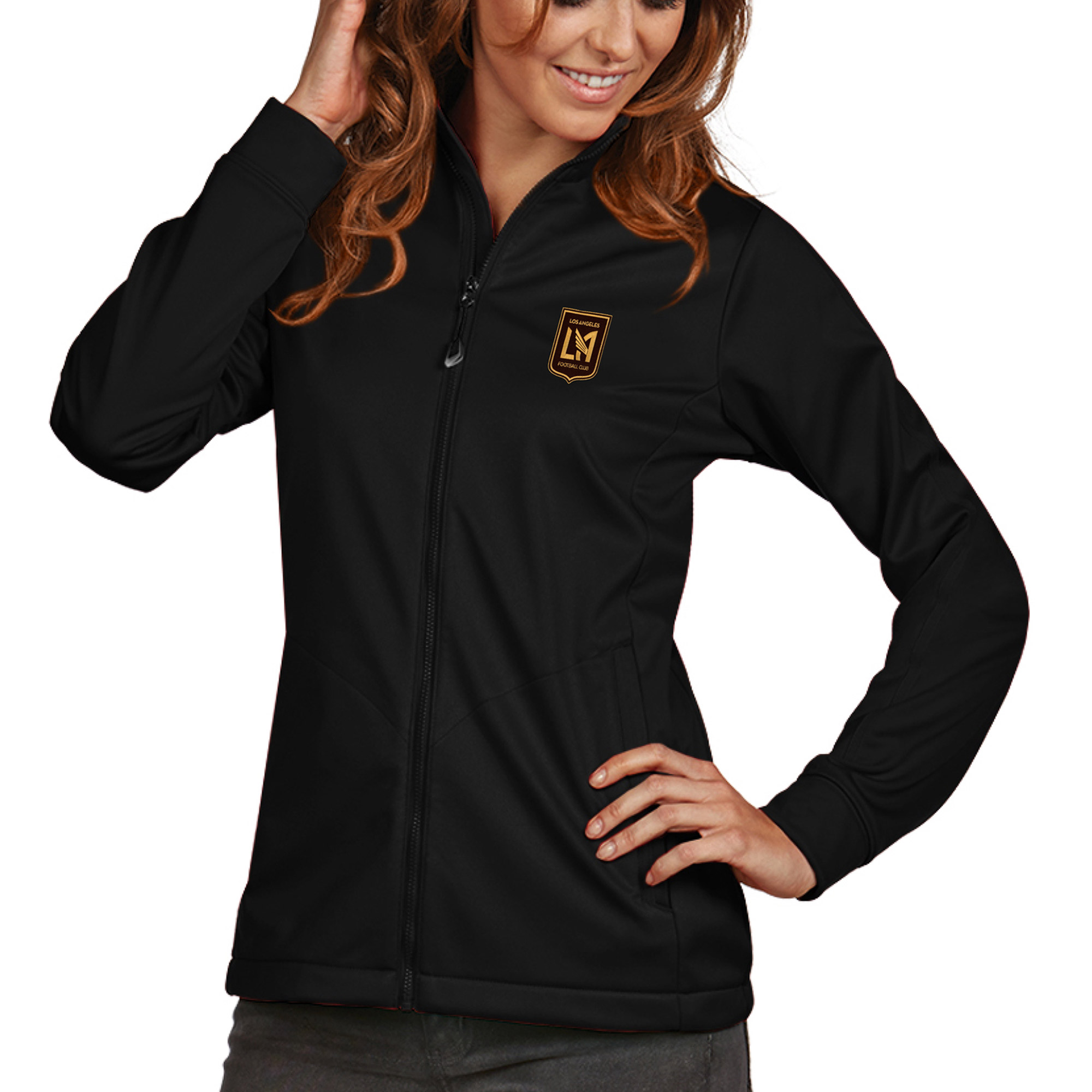 LAFC Antigua Women's Golf Full Zip Jacket - Black