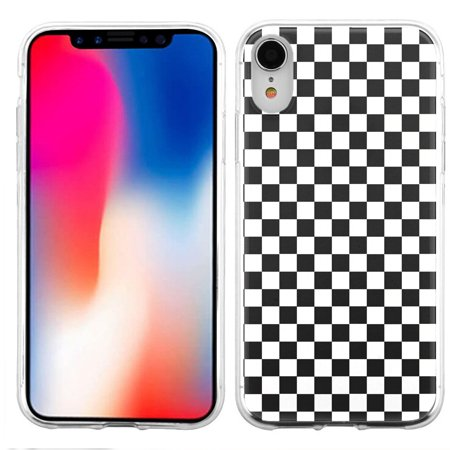 For Apple iPhone XR Case, OneToughShield ® Scratch-Resistant Slim-Fit TPU Protective Phone Case Cover - Checker B/W