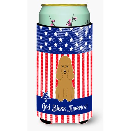 Patriotic USA Poodle Tan Tall Boy Beverage Insulator Hugger BB3064TBC