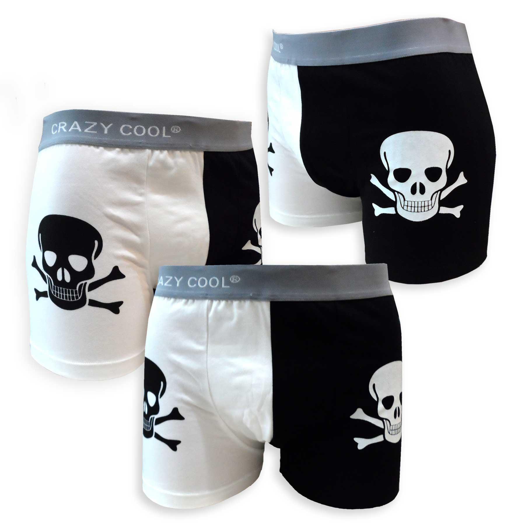 Mens Underwear Skull and Flora Boys Boxer Brief