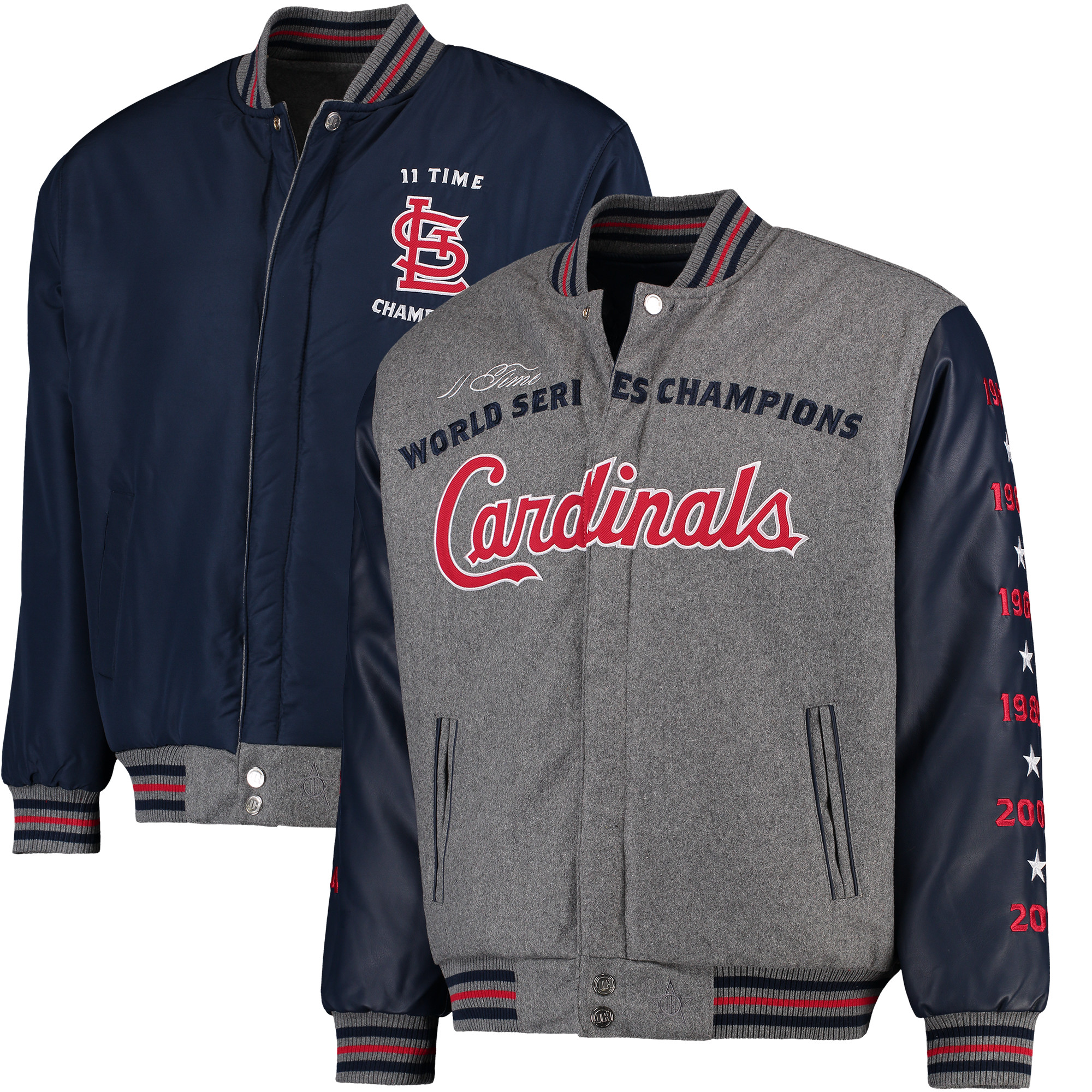 St. Louis Cardinals JH Design MLB Reversible Commemorative Melton Jacket - Heathered Gray