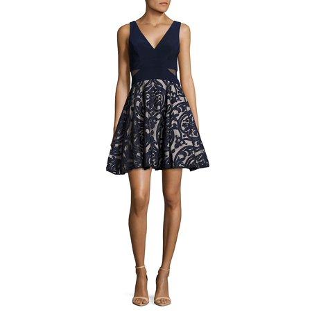 Damask-Applique Fit-&-Flare Dress - Bebe Party Dress