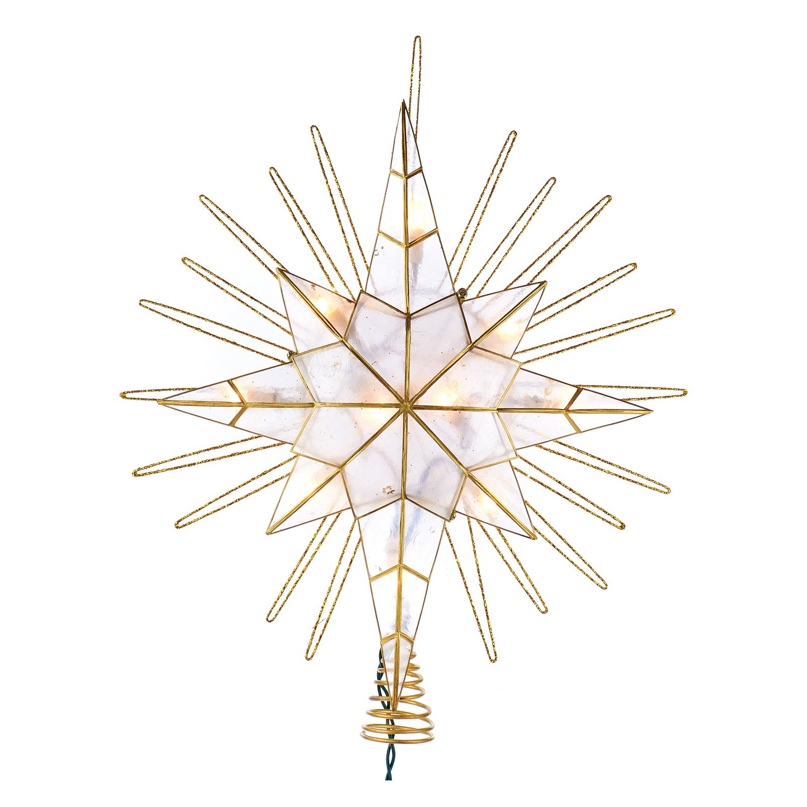 Kurt Adler 14 in. 10-Light Gold Glitter Capiz Bethlehem Star Tree Topper