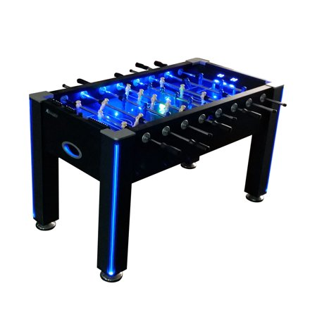 Atomic Azure LED Light Up Foosball Table with Interactive Inrail LED Lighting and Cascading Effects Paired with In Game Music