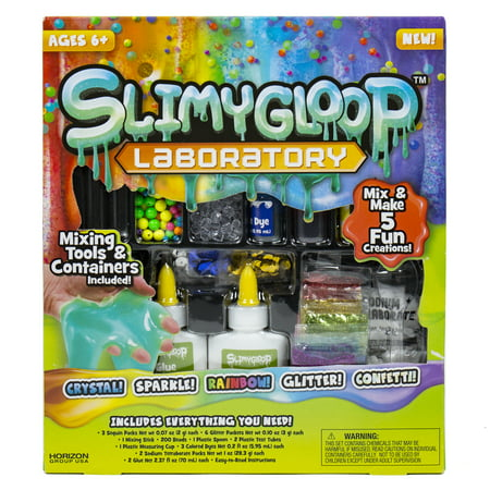 SlimyGloop Laboratory Slime Kit: Make 5 Fun Creations With Glitter, Beads, Confetti and More (Slide Maker)