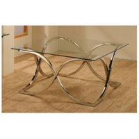 Coffee Table with X Curved Metal Base and Glass Top