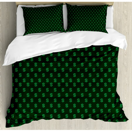 Money Queen Size Duvet Cover Set, Pattern of Dollar Symbols on Dark Green Background Monetary Sign of USA, Decorative 3 Piece Bedding Set with 2 Pillow Shams, Hunter Green Lime Green, by Ambesonne