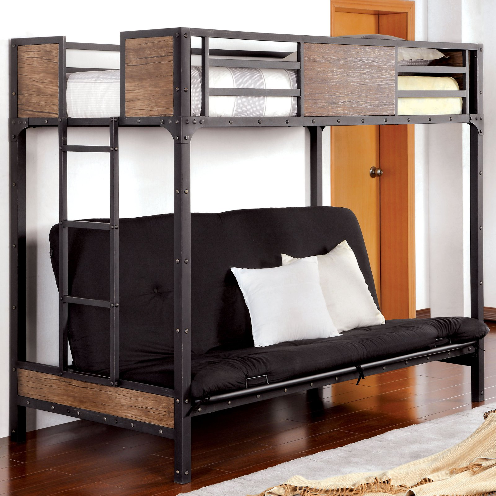 Wood Panel Twin Over Futon Bunk Bed