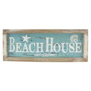 Framed Beach House Painted Wood Wall Plaque 15 Inch Distressed