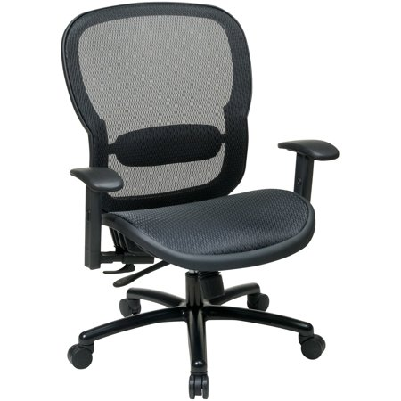 Space Seating Black Taiwan Matrix Back with Adj, Lumbar Support, Black