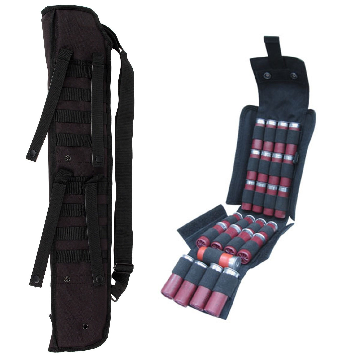 "Ultimate Arms Gear Tactical 29"" Black Molle Scabbard For Remington 870/11-87/1187 12 Gauge Shotgun + Tactical Black Molle 25 Shot Shell Ammunition Ammo Reload Carrier Pouch 12 GA Shotgun Rounds"