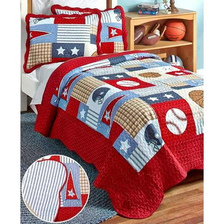 Sam Football - American Boys Sports, Football, Baseball, Basketball Twin Quilt & Sham Set (2 Piece Bedding)