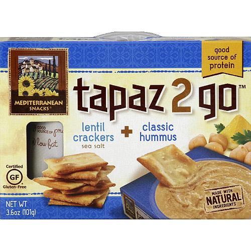 Mediterranean Snacks Tapaz 2 Go Lentil Crackers + Classic Hummus, 3.6 oz, (Pack of 6)