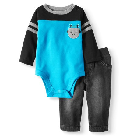 Garanimals Long Sleeve Pocket Bodysuit & Twill Pants, 2pc Outfit Set (Baby Boys) - Toddler Boy Valentine Outfit