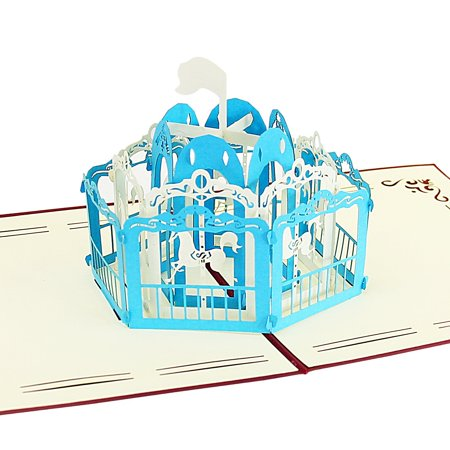 Halloween Cards Made With Cricut (Pop Up Greeting Card - Carousel Amusement Park 3D Paper Greeting Thank You Card Handmade Envelope for kids men women | Halloween Thanksgiving Birthday ( Blue)