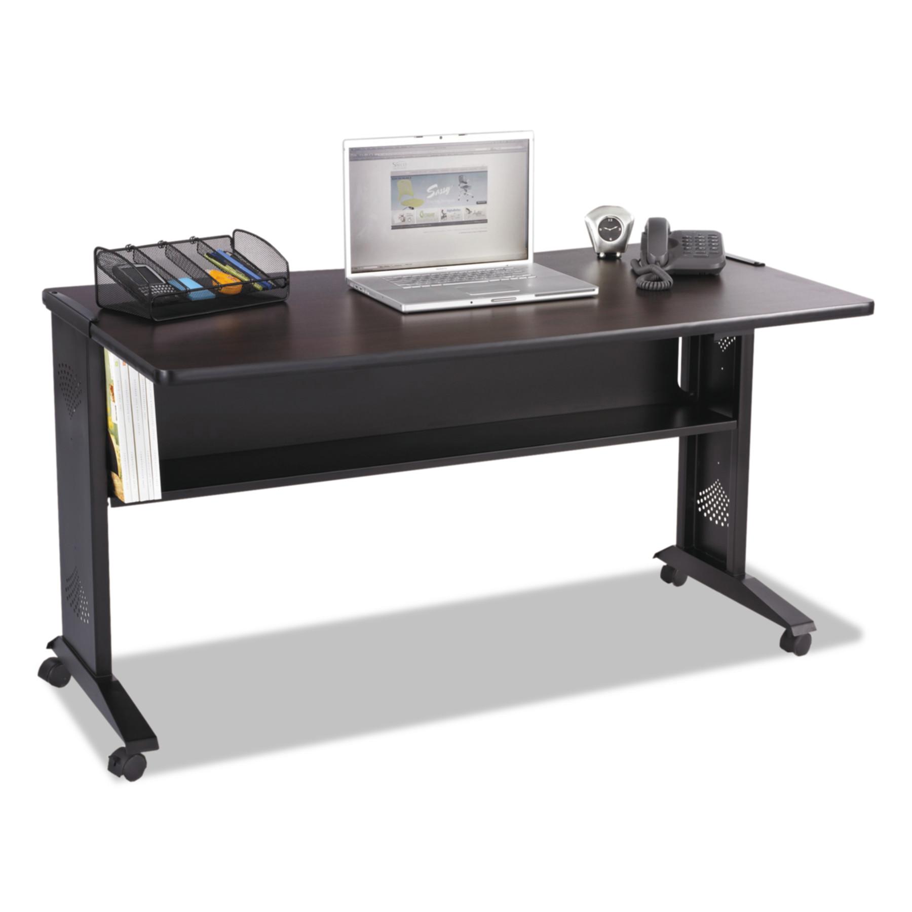 Safco Mobile Computer Desk W/Reversible Top, 53.5 x 28 x 30, Mahogany/Medium Oak/Black