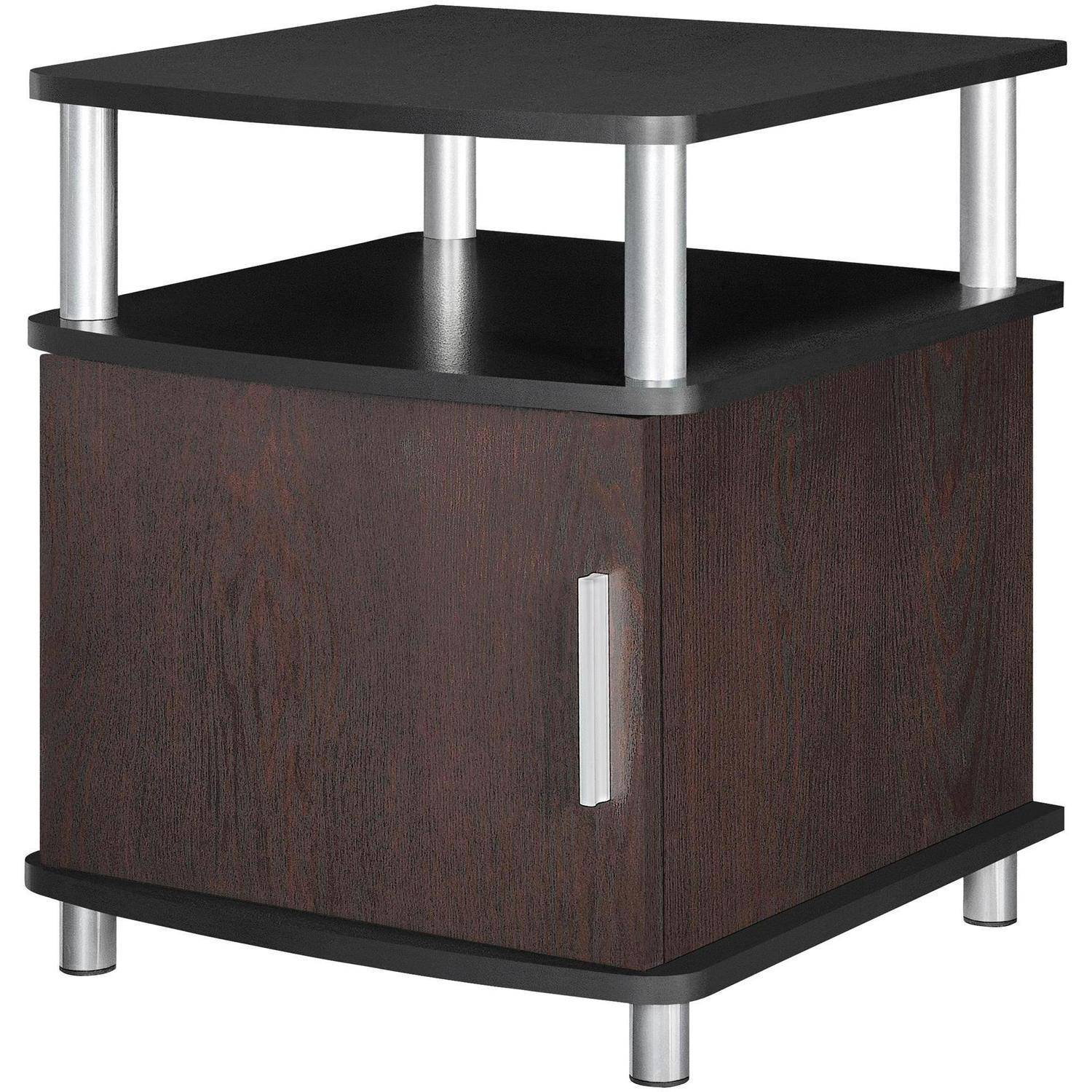 Ameriwood Home Carson End Table With Storage, Espresso/Silver   Walmart.com