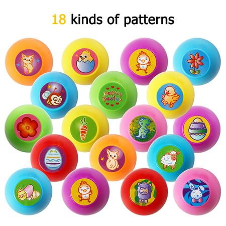18Pcs Multicolor Egg Stampers Toy for Easter Eggs Hunt Game Multicolor (Easter Egg Colors)