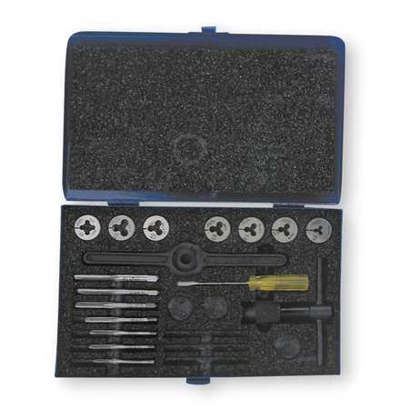 CLEVELAND C00517 Tap and Die Set,#4 to 1/4 In,16 pc ()