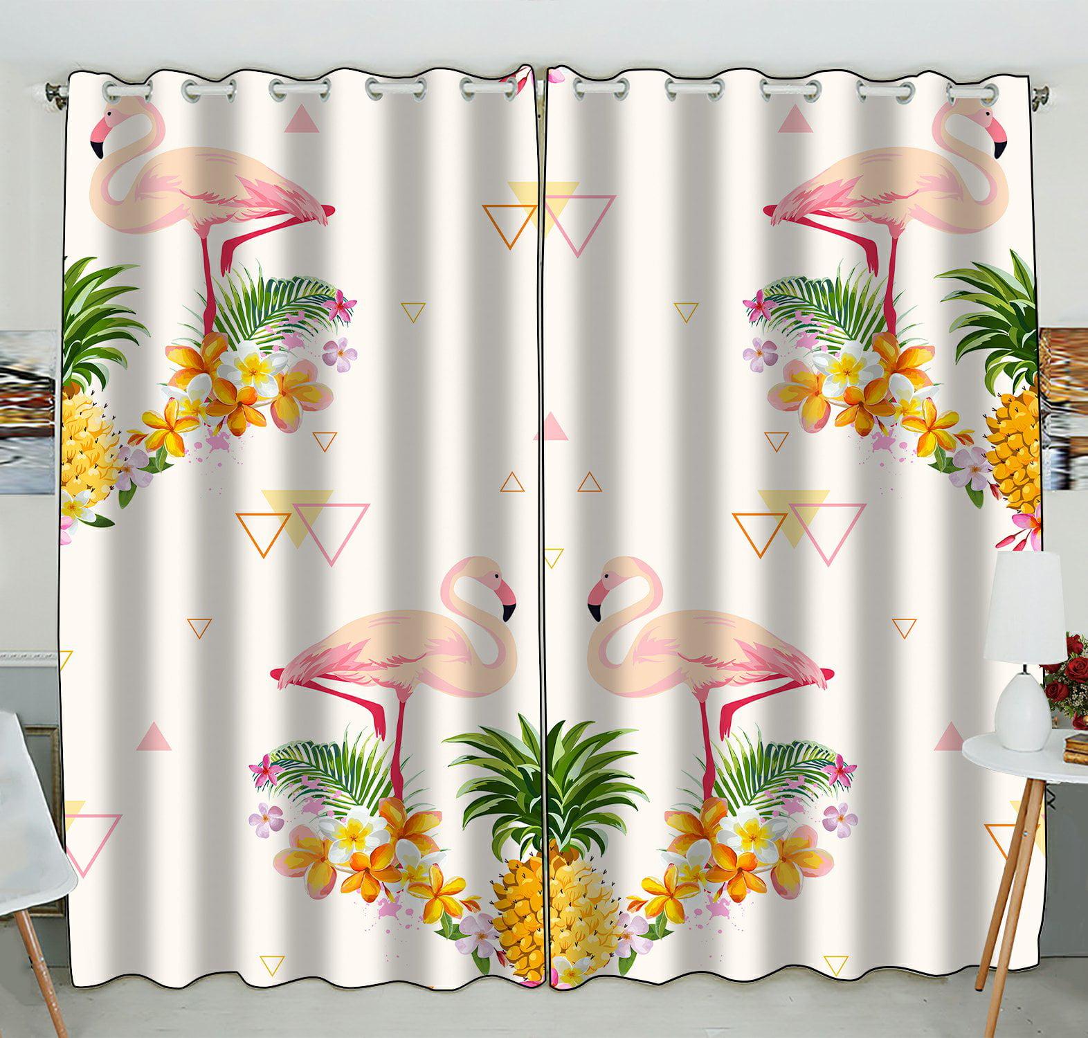 PHFZK Geometric Window Curtain, Pink Flamingo And