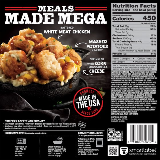 Banquet Mega Bowls Country Fried Chicken 14 Ounce Walmart