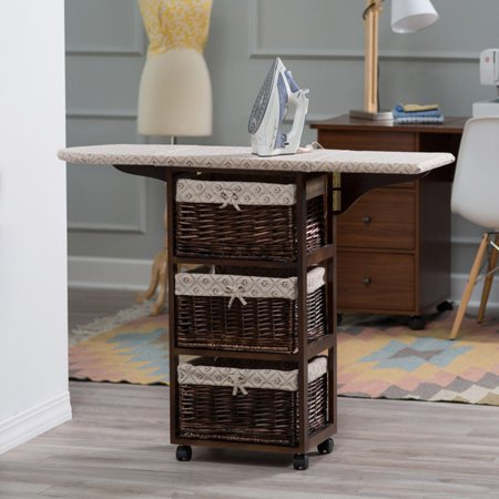 Showtime Wood Wicker Ironing Board Center With Baskets