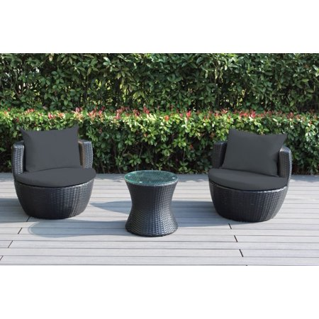 Ohana 3-Piece Outdoor Wicker Patio Furniture Conversation Set - Ohana 3-Piece Outdoor Wicker Patio Furniture Conversation Set