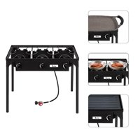 Ktaxon Burner Propane Stove Outdoor 3 Burner 225,000 BTU w/0-20 PSI High Pressure Adjustable Regulator