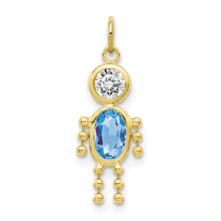 10k Yellow Solid Gold March Boy Birthstone Pendant for Necklace