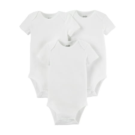 Child of Mine by Carter's White Short Sleeve Bodysuits, 3-Pack