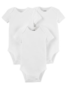 Child Of Mine By Carter's Baby Boy or Girl Unisex White Short Sleeve Bodysuits, 3-Pack